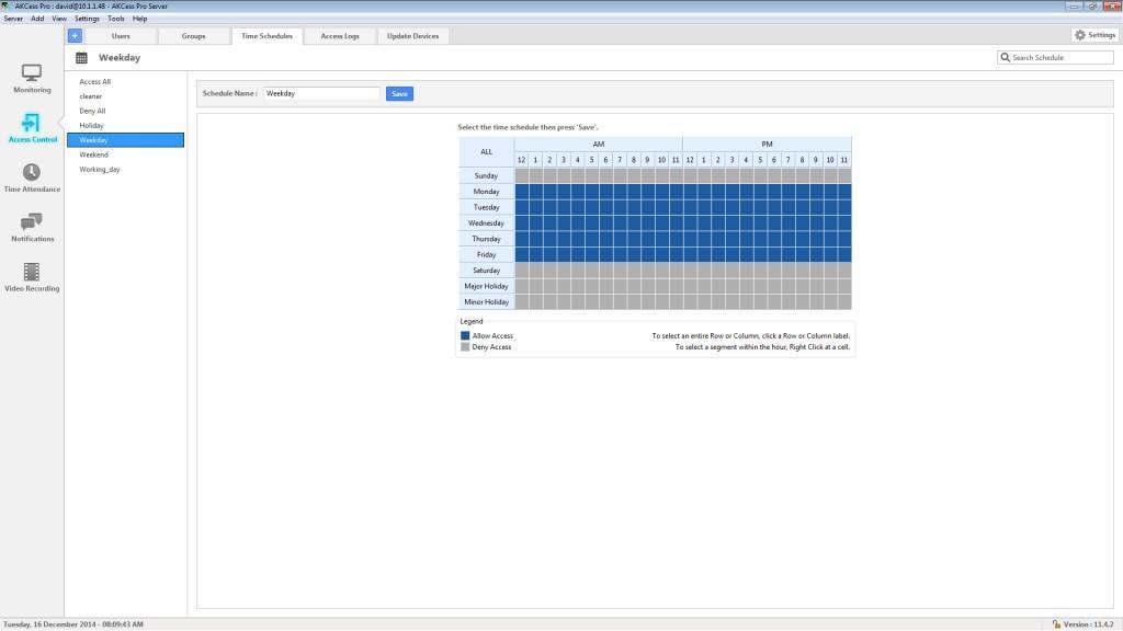 AKCess Pro Server : Time Schedule Management